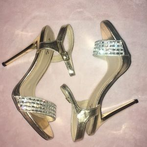 Gold Heels with Silver Details